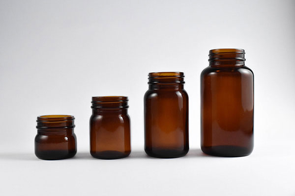 Wide-Mouth Amber Jars